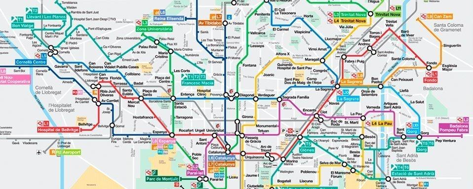 Cartina Metro Barcellona.Mappa Metro Barcelona Tbm Destinobcn Barcellona Destino Barcellona